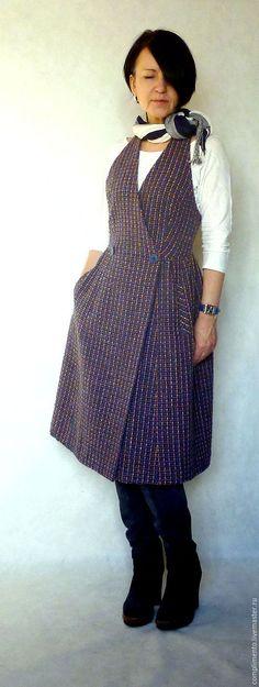 Купить Платье-сарафан в клетку МИА - тёмно-синий, в клеточку, открытая спина, на пуговицах, жилет