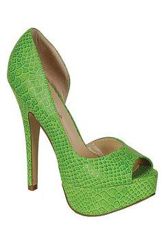 FAUX SNAKE PRINT PUMPS-Green