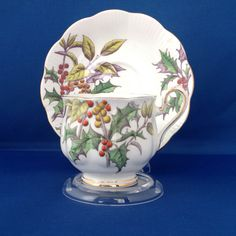 Royal Albert Flower of the Month Series 'Holly' Cup and Saucer - Hampton Shape