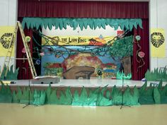 That crazy art teacher Ms. O'Kelley Lion King set for an elementary play.
