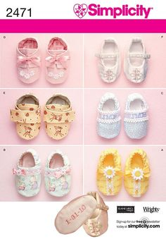 Simplicity Pattern 2471 Baby Shoes, One Size. $6.00, via Etsy.