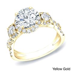 Auriya Certified 14k Gold 2ct TDW Round Halo Diamond Engagement Ring (H-I, SI1-SI2) (Yellow Gold - Size 8.5), Women's