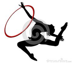 Rhythmic gymnastics with ring. Gymnast woman flying in split. With ring. PNG available.