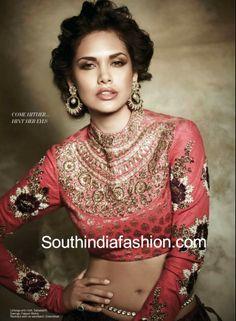 Esha Gupta in stunning http://www.Sabyasachi.com/ Mukherjee high neck, full sleeved blouse