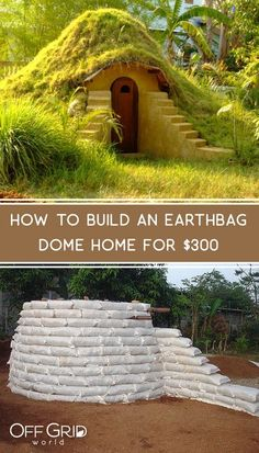 Earthbag structures can be adorned with a living roof, or covered in mud or plaster. They are structurally sound, and when complete can blend into the landscape, thereby minimizing the effects on the environment. This little earthbag dome was built for much less than you'd think! #earthbag #earthbagdome #erathbaghome #earthbagbuilding #offgrid #sustainable Outdoor Projects, Home Projects, Maison Earthship, Casa Dos Hobbits, Earth Bag Homes, Natural Building, Green Building, Cob Building, House Building