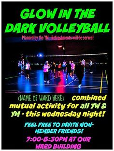 GLOW IN THE DARK VOLLEYBALLMy husband (YM Presidency) actually put this activity together for a combined ym/yw activity. Its not an original idea, of course, but it was a big hit. (It was hard to get Mutual Activities, Youth Group Activities, Youth Games, Young Women Activities, Senior Activities, Youth Groups, Church Activities, Holiday Activities, Indoor Activities