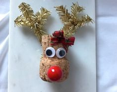 This adorable Reindeer ornament is made from up-cycled wine corks. Hang it on your tree, use as a stocking stuffer, table decoration, wine tag, etc. Contact me with any questions :) Wine Craft, Wine Cork Crafts, Wine Bottle Crafts, Wine Bottles, Wine Cork Ornaments, Diy Christmas Ornaments, Christmas Decorations, Snowman Ornaments, Christmas Crafts For Kids