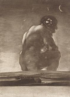 Goya (Francisco de Goya y Lucientes) (Spanish, 1746–1828). The Giant, by 1818. The Metropolitan Museum of Art, New York. Harris Brisbane Dick Fund, 1935 (35.42) | This rare print of a mysterious gargantuan creature sitting on the edge of the earth is one of Goya's most disturbing and haunting images. #OneMetManyWorlds