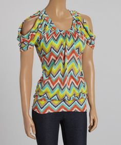 Look at this Yellow & Blue Zigzag Cutout Blouson Top on #zulily today!