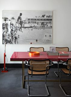 Thonet cantilevered chairs with lacquered tabletop. (Mix of Cool Spaces : Mark Gregory Peters Photographer Barcelona, Spain)