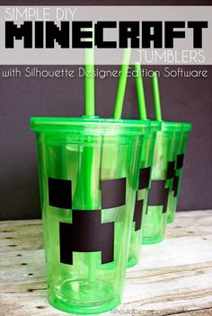 DIY Minecraft Cups with DollarTree tumblers.