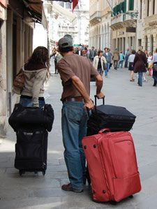 """One Bag, That's It!! My husband and I each carry a large back pack for 20 day trips in Europe. No more check in or fees. We carry everything with us. Limit yourself to 20 pounds in a carry-on–size bag. An unstructured 9"""" x 22"""" x 14"""" bag should fit under most airplane seats. It will certainly fit in the overhead bins."""
