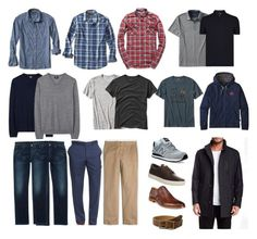 """Men's basic casual and business casual wardrobe capsule"" by wrymommy ❤ liked on Polyvore featuring New Balance, Citizens of Humanity, Banana Republic, Nordstrom, J.Crew, Timberland, Cole Haan, Scotch & Soda, Paul Smith and Gap"