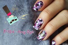 Participation au Naistorming (N°124) : Army Style avec un motif camo violet spécial NPA. ____ Nail art for the 124th Nailstorming : Army Style, a little bit girly in Lilac colors.
