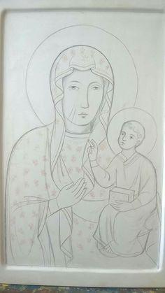 Preparazione icona Madonna nera Religious Icons, Religious Art, Madonna, Our Lady Of Czestochowa, Medieval Tapestry, Byzantine Icons, Catholic Art, Art Icon, Orthodox Icons