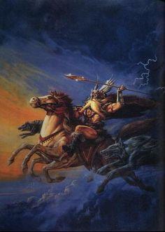 """ODIN´S DAY!!!!!!!!! : HAIL!!! IT´S ODIN´S DAY!!!!!!!!!  Comemorando mais um dia em homenagem a nosso pai e supremo deus de todo universo ODIN!!!!!!!!! Na foto ODIN cavalgando Sleipnir junto de seus lobos Geri & Freki, com sua lança que jamais erra seu alvo, a GUNGNIR!!! Como sempre ao som dos Kings of Metal, MANOWAR!!!!!!!!!  ODIN  """"In the hall of the slain  Valkyries and heroes attend me  Ravens and wolves at my side  Forever they did befriend me    I paid an e"""