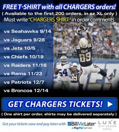 FREE T-shirt with all #CHARGERS orders! http://bit.ly/1CAn8IB   #BarrysTickets #SanDiego #NFL #Football