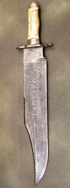 etched bowie knife