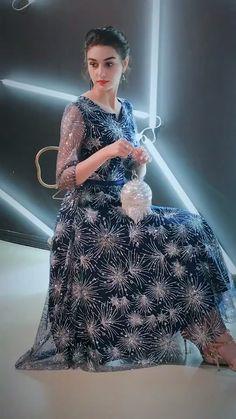 Starry Sky Royal Blue Homecoming Graduation Dresses 2019 A-Line / Princess Scoop Neck Sleeve Sash Glitter Tulle Tea-length Ruffle Formal Dresses Pakistani Bridal Wear, Pakistani Wedding Dresses, Indian Dresses, Bridal Dresses, Prom Dresses, Formal Dresses, Stylish Dresses, Cute Dresses, Beautiful Dresses