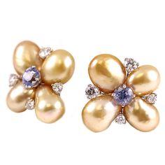 Lively Diamond Golden Keshi Pearl Violet Sapphire Ear Clips