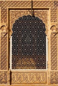 Ornate window of beautiful Haveli - Jaisalmer, India