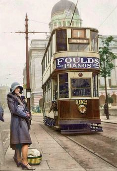 when a different tram roamed & a different lady waited, Nottinghamshire, Early Old Pictures, Old Photos, Nottingham City, Nottingham Council, Nottingham Lace, Uk History, Local History, Family History, Old Train Station
