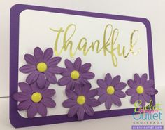 Inspired by Facebook's Thankful Button, Eyelet Outlet Purple Paper Flowers paired with their Yellow Enamel Dots.
