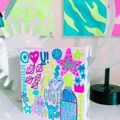 Cute Canvas Paintings, Small Canvas Art, Mini Canvas Art, Diy Canvas, Photo Wall Collage, Collage Art, Preppy Bedroom, Unicorn Poster, Dorm Art