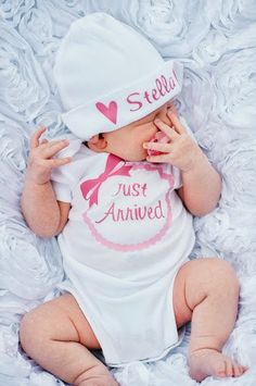 Newborn Baby Just Arrived Baby Bodysuit Outfit Shirt Plus Custom Beanie Cap Hat on Etsy, $23.00