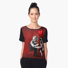 Steampunk couple Women's Chiffon Top #tshirt #tee #womens #chiffontop #clothing #Red #Girly #Kids #Children #valentine #BanksyTheBalloons #Balloons #Steampunk #Diving #Dinner #Rose #halloween #graphicdesign #girl #Psycopath #Spooky #Scary #Romantic