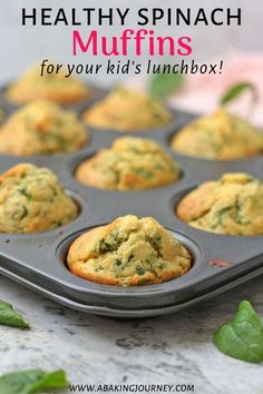 These Cheddar Cheese and Spinach Muffins are the perfect healthy lunchbox recipe for kids! Packed with veggies and delicious cheese, these healthy sav. - - These Cheddar Che Healthy Lunchbox Snacks, Veggie Recipes Healthy, Savory Snacks, Healthy Kids, Lunchbox Ideas, Health Recipes, Eat Healthy, Healthy Meals, Healthy Savoury Muffins