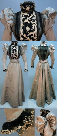 Dress, 1890s. Two-piece gray silk faille. Boned bodice covered in pleated black chiffon with sequins and crystal beads. Back chiffon insert with cream tape lace. Sleeves puffed front and back, ruffled collar with back bow, ruffled cuff. Skirt lined in polished cotton with velvet hem band. Whitaker Auctions.