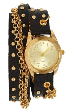 Glam rock! Love this black and gold double chain wrap watch.