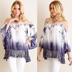 Ombré Tie-Dye Open Shoulder Top Gorgeous ombré tie-dye top features wide sleeve and fringe on hem. V-silhouette neckline. Adjustable straps. Non-sheer. • This listing is for Charcoal. Also available in Orange & Teal. • 100% Rayon Wild Dreams Tops