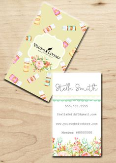 floral young living business cards custom essential oils twin