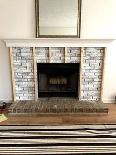 from Builder Grade to a Black Modern Beauty — The Other Side of Neutral Fireplace Makeover; from Builder Grade to a Black Modern Beauty — The Other Side of Neutral Modern Fireplace Decor, Black Brick Fireplace, Stucco Fireplace, Build A Fireplace, Brick Fireplace Makeover, Paint Fireplace, Farmhouse Fireplace, Home Fireplace, Fireplace Surrounds