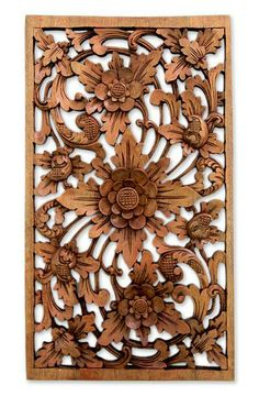 Hand Carved Floral Wood Relief Panel - Lotus Garden | NOVICA