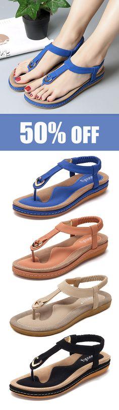 SOCOFY Comfortable Shoes Elastic Clip Toe Flat Beach Sandals US Size Click Visit link above for more info Women's Shoes Sandals, Shoe Boots, Beach Sandals, Teva Sandles, Women's Boots, Flat Sandals, Comfy Shoes, Comfortable Shoes, Equador