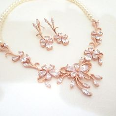 Rose Gold Bridal Jewelry SET Bridal necklace Pearl by treasures570