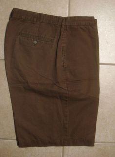 Lands End Mens Flat Front Classic Casual Shorts 36 Linen Blend Brown #LandsEnd #KhakisChinos
