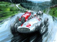 """German Grand Prix -- Nurburgring 1939"" signed and numbered by Nicholas Watts, limited edition 50, size 63.5 x 48.25cm."