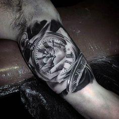 Blackwork Pocket Watch Tattoo by Todd Bailey