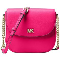 Michael Michael Kors Half Dome Crossbody ($148) ❤ liked on Polyvore featuring bags, handbags, shoulder bags, ultra pink, leather crossbody, leather crossbody handbags, pink crossbody, leather shoulder bag and michael kors purses