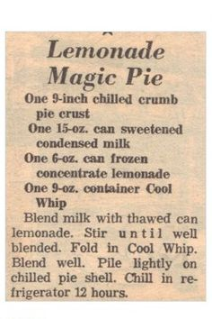 Lemonade Magic Pie Recipe Clipping | RecipeCurio.com
