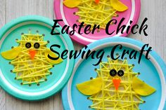 Adorable Paper Plate Sewing Easter Chick Craft