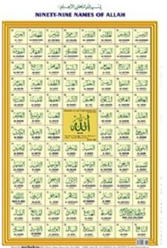 Ninety Nine 99 Names Of Allah Chart Null