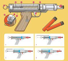 MAKE Volume 29 Better Nerf Gun Illustration by Timmy Kucynda Airsoft Guns, Weapons Guns, Guns And Ammo, Hidden Weapons, Arma Nerf, Nerf Darts, Rubber Band Gun, Nerf Mod, Homemade Weapons