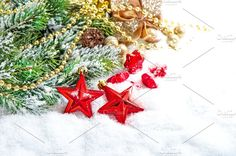 Christmas decoration red stars by LiliGraphie on @creativemarket