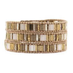 Gold Mix Triple Wrap Bracelet on Henna Leather - Chan Luu