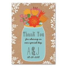 Rustic Mason Jar Flowers Craft Paper Thank You Business Card Templates